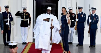 President of The Gambia Yahya A.J.J. Jammeh and first lady Zineb Jammeh arrive for a dinner hosted by President Barack Obama for the U.S. Africa Leaders Summit, Tuesday, Aug. 5, 2014. African heads of state are gathering in Washington for an unprecedented summit to promote business development. (AP Photo/Susan Walsh)
